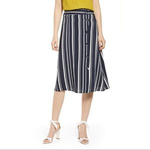 NWOT Navy and white stripe midi skirt by Chelsea28